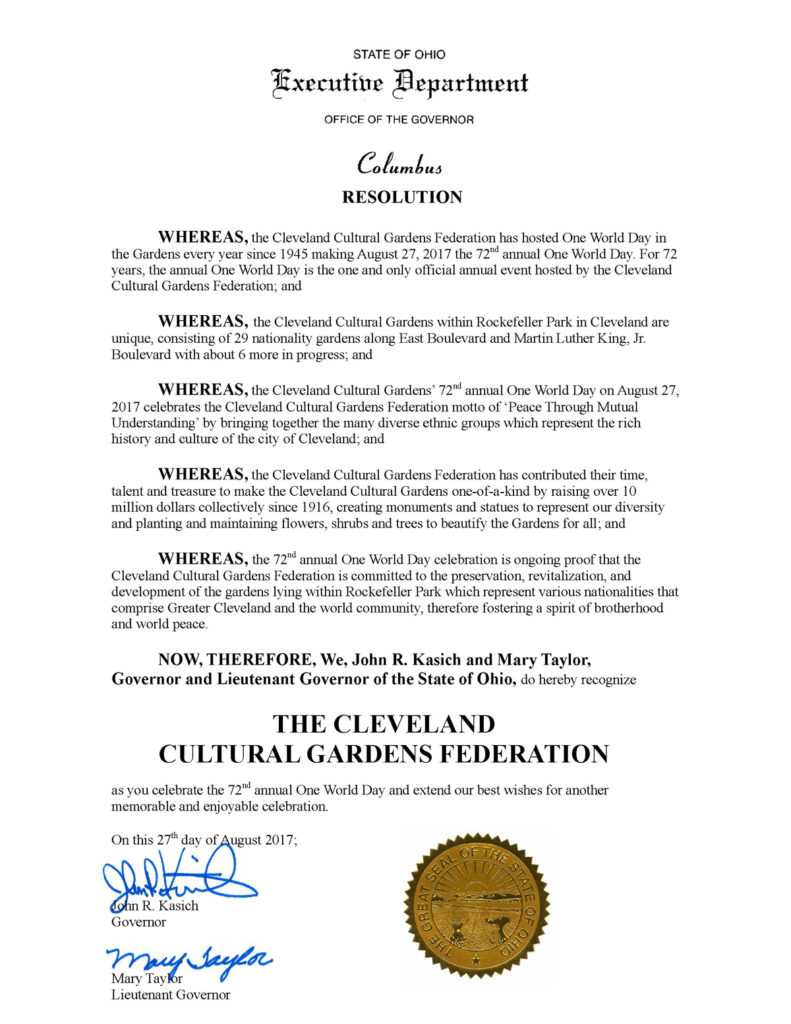 Ohio Governor Kasich congratulates One World Day